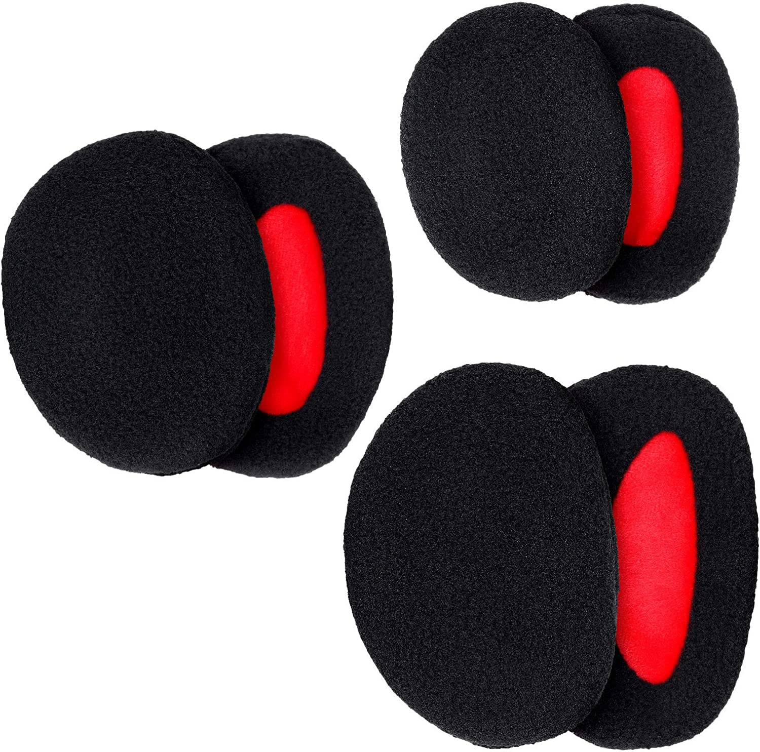 3 Pairs Bandless Ear Muffs Warmers Fleece Ear Muffs Winter Ear Covers for Men Christmas Valentine's Day Giving