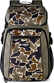 Igloo Gizmo Durable, Compact & Adjustable Insulated Leak Proof 30 Can Cooler Backpack Tote, Camouflage