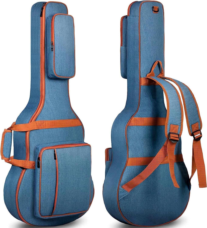 CAHAYA Funda de Guitarra Acústica de Mezclilla Transpirable Bolsa Guitarra Acolchada 8mm para Guitarra Acústica Clásica de 40 41 42 Pulgadas