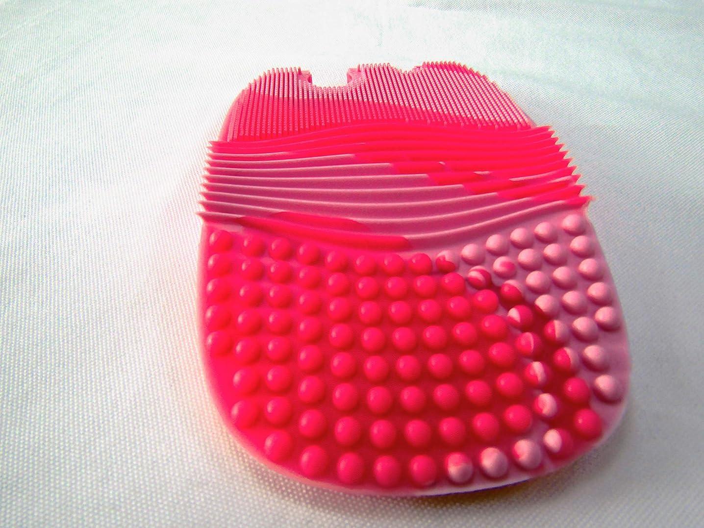 ツーリストパケット新聞化粧ブラシクリーナー メイクブラシクリーニング メイクブラシクリーナー 化粧ツールクリーナー メイクブラシ クリーニングマット シリコン 洗濯板 旅行 (ピンク)