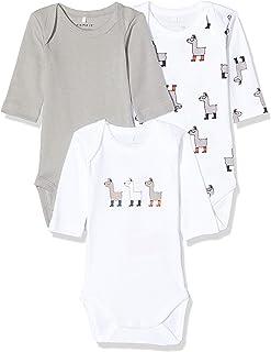 NAME IT 3er-Pack Unisex Langarm Baby Bodys Lama