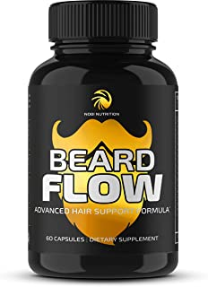 Nobi Nutrition Premium Beard Growth Supplement for Men - Grow Thicker, Longer Facial Hair with Biotin, Saw Palmetto & More - Supplement for All Hair Type - 60 Veggie Capsules