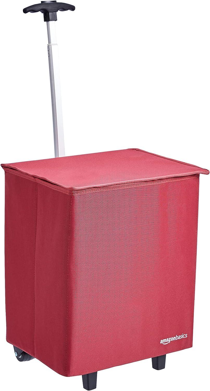 Amazon Basics – Carrito para la compra ligero y abatible, mango de 96,5 cm de altura, rojo