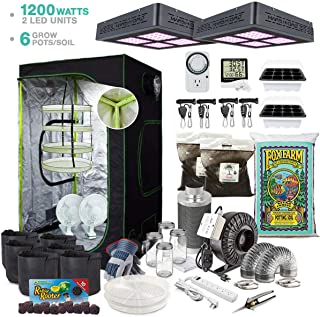 TheBudGrower Indoor Superior Component Complete Kit - Hydroponic Growing Ventilation System for Indoor Garden, Fox Farm Soil, Carbon Filter, Large Reflective Tent, 1200-Watt (2) 600w LED Grow Lights
