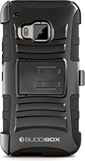 HTC One M9 Case, BUDDIBOX [HSeries] Heavy Duty Swivel Belt Clip Holster with Kickstand Maximal Protection Case for HTC One M9, (Black)