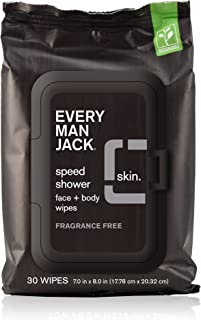 Every Man Jack Speed Shower Face + Body Wipes, Fragrance Free, 30-count