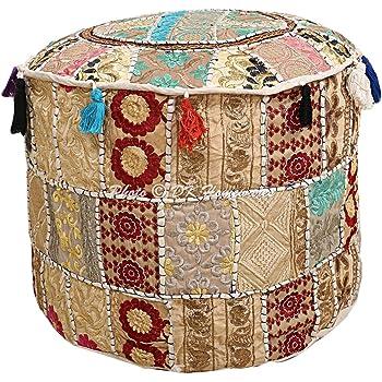 Rotondo Sgabello poggiapiedi Patchwork 81,28 cm Pouf Indiano Tradizionale di Colore Bianco