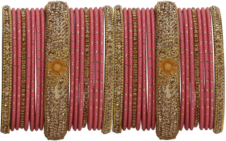 Efulgenz Indian Bangle Set Rhinestone CZ Crystal Wedding Bridal Metal Bangle Bracelets Jewelry