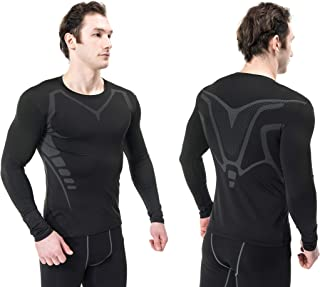Siboya Men's 2 Pack Long Sleeve Compression Shirt Cool Dry Baselayer Tops