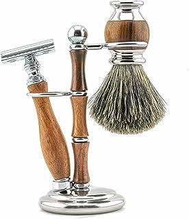 Haryali London Zestaw do golenia – 3-częściowy zestaw do golenia dla mężczyzn i kobiet – maszynka do golenia z podwójną kr...
