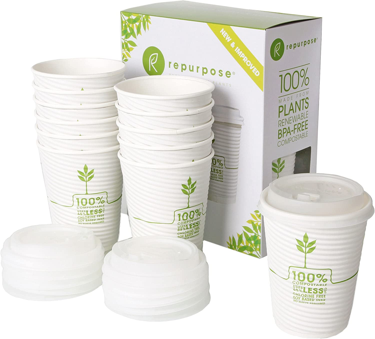 Repurpose 100% Now free shipping Compostable Plant Based Spring new work Cups 1 Lids with Coffee