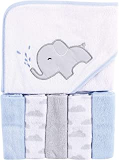 Luvable Friends Unisex Baby Hooded Towel with Five Washcloths, Elephant Spray, One Size