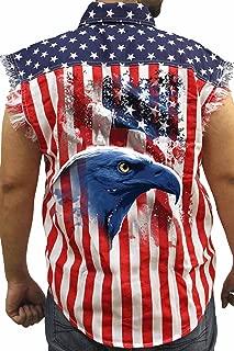 Men's USA Flag Sleeveless Denim Shirt American Icon Biker: USA Flag (Large)