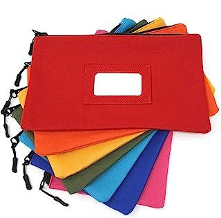 کیف ابزار بوم با پنجره شناسه PVC و کارتهای خالی - ذخیره بزرگ زیپ - کیف سنگین - کیسه ذخیره دانشجویی 12 اینچ 7 اینچ - آرایش ، کابلهای برقی