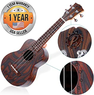 Solid Wood Mahogany Soprano Ukulele - High Quality Professional Instrument with Flamed Brown Body, Black Walnut Fingerboard and Bridge - Pyle Pro PUKT55
