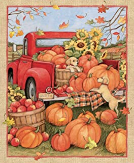 Red Truck Pumpkins Puppies Autumn Fall Panel 36 x 44 inches Sunflowers Apple Basket Door by Susan Winget for Springs Creative 100% Cotton Fabric SC-68778 Sold by Panel