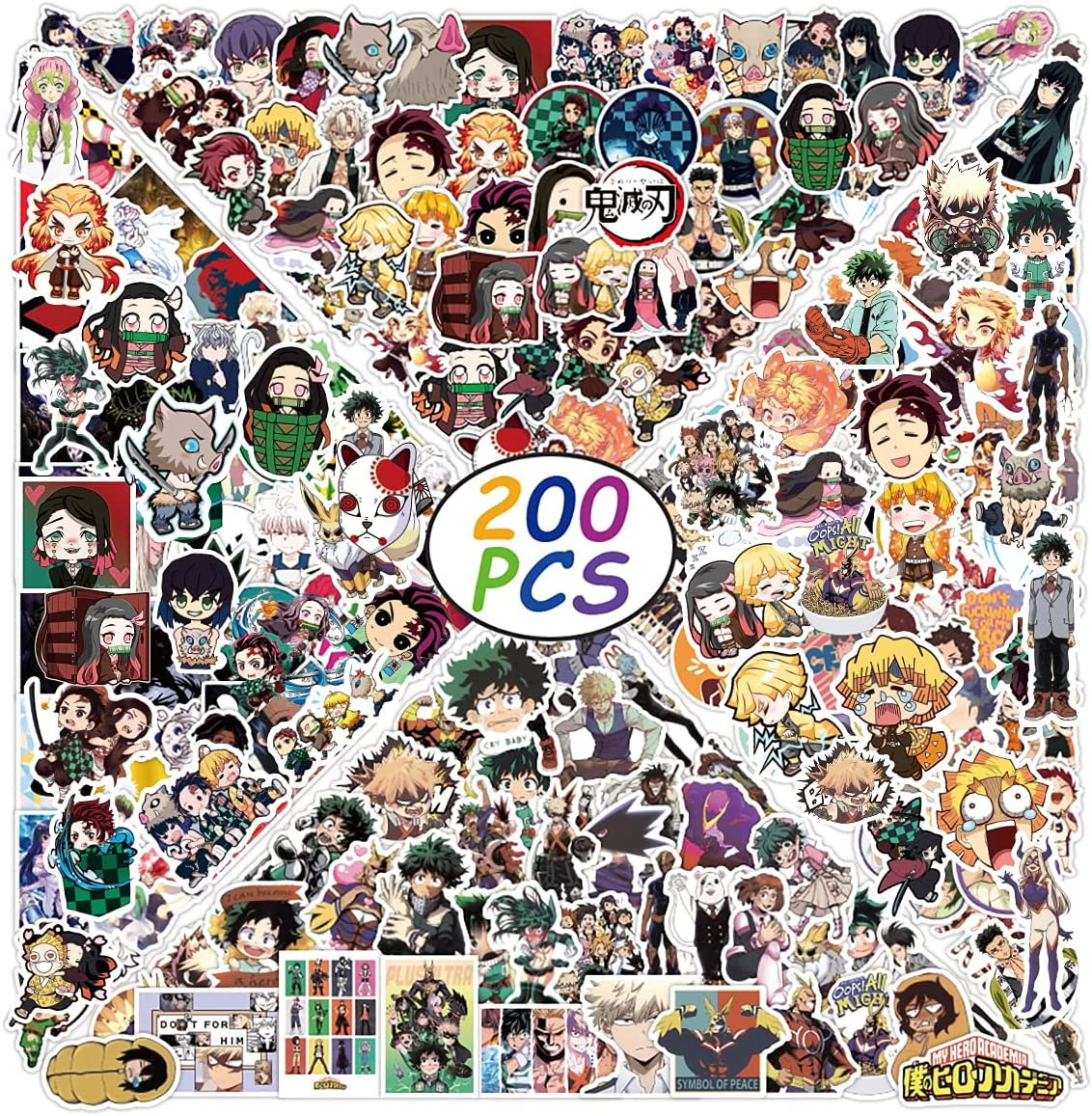 200Pcs Mixed Anime Stickers, Anime Cartoon Stickers for Laptop, Notebook Computer,Water Bottle,Luggage. Gifts for Kids, Men, Women,Teens, Adults