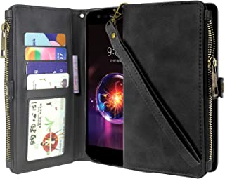 LG X Power 2 Case,LG Fiesta 2 / LG X Charge/Fiesta LTE case, Lacass Premium Leather Flip Zipper Wallet Case Cover Stand Feature with Card Holder and Wrist Strap for LG X Power 3 / K10 Power (Black)