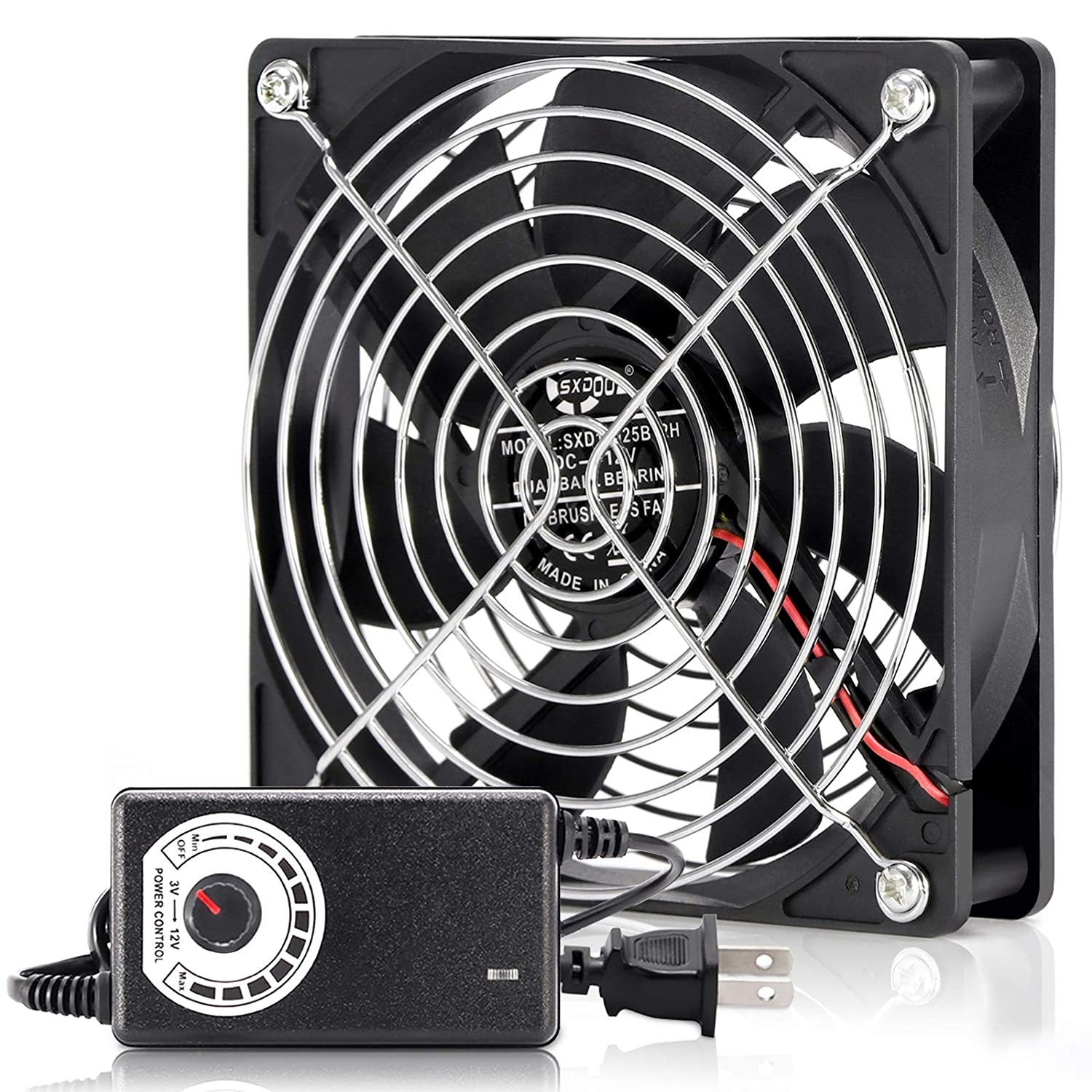 SXDOOL 120mm 110V 115V 120V AC Powered Fan with Speed Controller DC 3V to 12V, for Router Receiver DVR Playstation Xbox Component Cooling