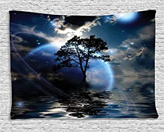 Ambesonne Fantasy House Decor Collection, Water Night View Dark Clouds Stars Moonlight Skylights Rays Tree Reflection on Sea Print, Bedroom Living Room Dorm Wall Hanging Tapestry, 80W X 60L Inch, Navy