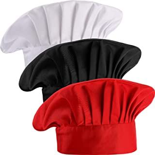 3 Pieces Multicolor Chef Hat Adult Adjustable Elastic Baker Kitchen Cooking Chef Cap