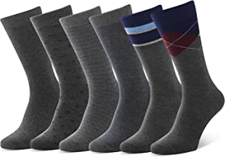 Men's Dress Socks Business Casual Crew Socks Cotton Dress Socks 6 Pairs Solid and Patterned