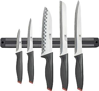 Richardson Sheffield R02300P506KB4 Laser - Juego de cuchillos de cocina (5 piezas, con estante magnético), color negro