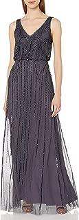 Adrianna Papell Women's Beaded V-Neck Blouson Gown