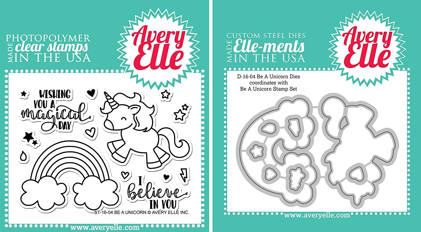 Avery Elle - Be a Unicorn Clear Stamps and Dies Set - 2 item bundle