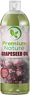 Grapeseed Oil Pure Carrier Oil - Cold Pressed Grape Seed Extract Oil for Essential Oils Mixing Natural Skin Moisturizer Body & Face Massage Lotion for Aromatherapy Nails and Hair Growth 16 oz