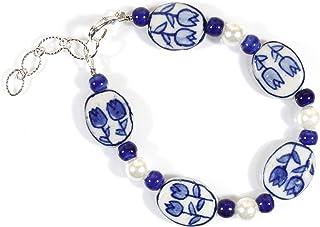 """""""Tulip Time"""" Dutch Blue Delft Porcelain Bracelet, 8.25 Inches Large"""