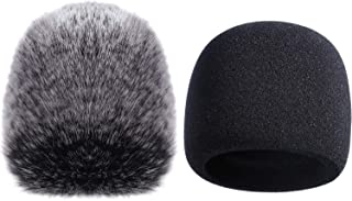 Mic Cover Foam Microphone Windscreen with Furry Windscreen Muff for Blue Yeti, Yeti Pro Condenser Microphone (2 Pack)
