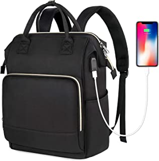 Laptop Backpack for Women, RFID Anti-Theft Business Travel Backpack with USB Charging Port Black Black