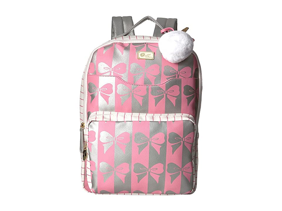 Luv Betsey Tyler PVC Backpack w/ Front Slip Laptop Pocket and Front Zip Pocket (Pink/Silver) Backpack Bags