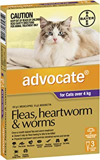 Advocate Flea, Heartworm and Worm Control for Large Cats, Purple, 3 Pack