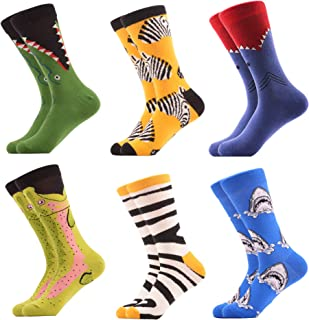 WeciBor Men's Cool Patterned Casual Combed Cotton Socks Gift Box Packs