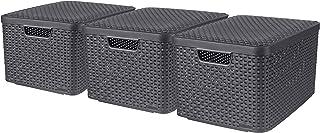 CURVER Lot de 3 Boîtes avec Couvercle - 3 Caisses (3*30L) en Plastique avec un Design Rotin Tressé pour Salle de Bain, Cha...