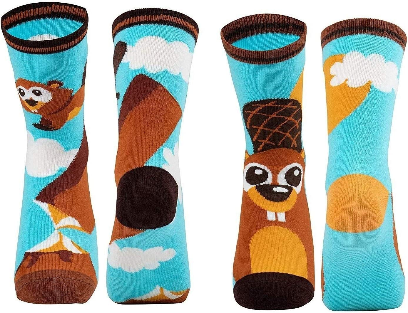 2-Pair Girls Crew Socks Cute Cartoon Beaver Animal Pet Print for Kids US 4-8 Multi Color Cotton