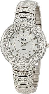 Burgi Women's BUR048 Diamond Accent Crystal Fashion Watch - Twelve Genuine Diamond Hour Markers