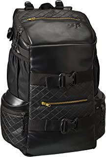 F Gear Larkin 33 Liters Faux Leather Backpack with Rain Cover (Black)