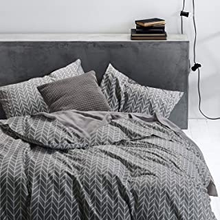 Wake In Cloud - Gray Chevron Duvet Cover Set, 100% Cotton Bedding, Zig Zag Geometric Modern Pattern Printed on Grey, with Zipper Closure (3pcs, King Size)