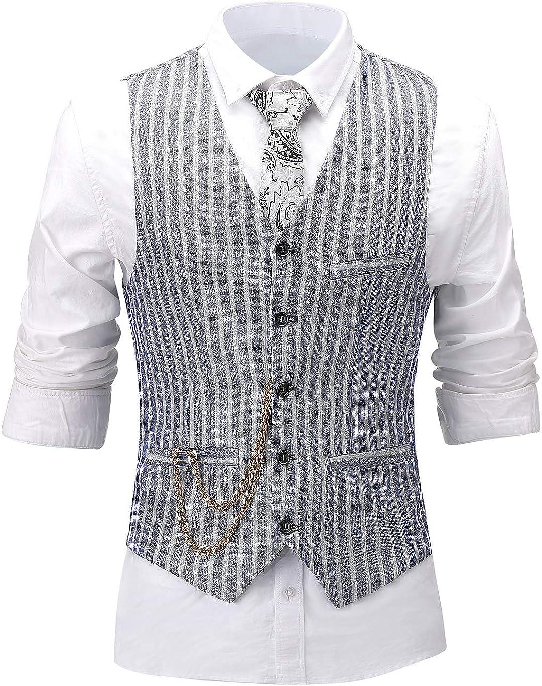 Men's 3 Pieces Formal Solid Mens Suit Slim Fit Printed Tuxedos for Wedding Groomsmen(Blazer+Vest+Pant)