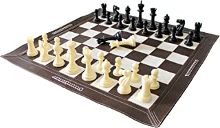 """Stonkraft 19"""" x 19"""" Genuine Leather Roll-Up Tournament Chess Set - with Plastic Chess Pieces - Dark Tan Colour"""