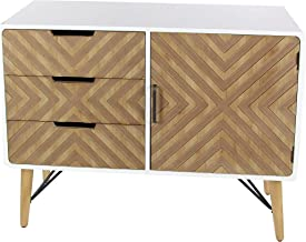 Deco 79 Wood and Metal 39 W, 30 H Cabinet, Brown/White/Black