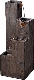 Kenroy Home 51017WDG Indoor/Outdoor Floor Fountain, 34 Inch Height, 12.25 Inch Width, 12.25 Inch Ext, Wood Grain