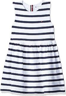 فستان بدون اكمام بتصميم مخطط للبنات الصغيرات من تومي هيلفجر، لون ابيض