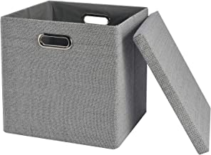 "Collapsible Storage Cubes Bins 13""x13""13"", Foldable Heavy-Duty Burlap Fabric Storage Box Basket Containers with Lids - Lar..."