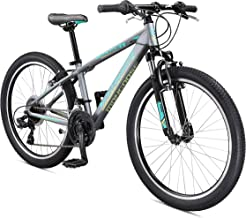Mongoose Rockadile Kid's Hardtail Mountain Bike with 24-Inch Wheels in Charcoal, with Aluminum Step-Through Frame, Shimano 21-Speed Drivetrain, and Front Suspension Fork