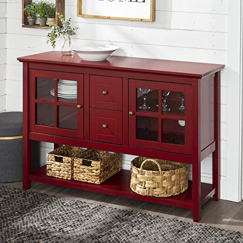 Walker Edison Furniture Company Rustic Farmhouse Wood Buffet Storage Cabinet Living Room, 52 Inch, Red