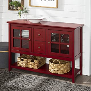 WE Furniture Rustic Farmhouse Wood Buffet Storage Cabinet Living Room, 52 Inch, Red
